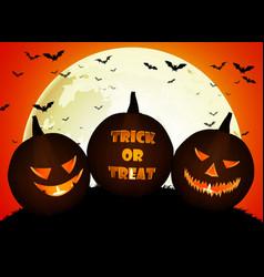 halloween pumpkins on the full moon vector image