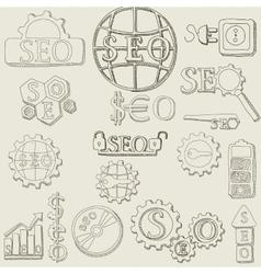 Hand draw seo icons set vector
