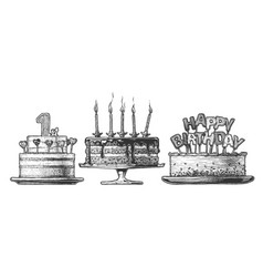 hand drawn set birthday cake vector image