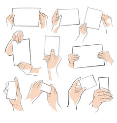 hands holding objects or paper edges isolated vector image