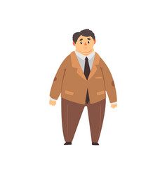 Handsome overweight man dressed brown suit fat vector
