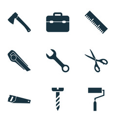 handtools icons set with wrench scissors hatchet vector image