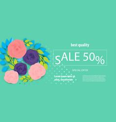 horizontal rose bud ultraviolet sale banner vector image