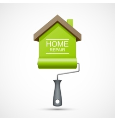 House repair icon Paint roller with green house vector