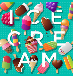 ice cream and letters vector image