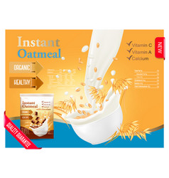 instant oatmeal advert concept milk flowing into vector image