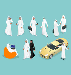 isometric businessman saudi arab man and woman vector image