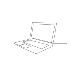 laptop one line drawing in line vector image