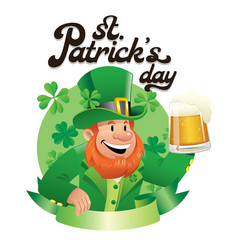 leprechaun holding a glass pint of beer vector image