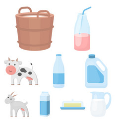 milk set icons in cartoon style big collection of vector image vector image