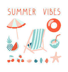 minimal summer set with lettering beach vector image