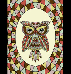 Muted stained glass with owl vector