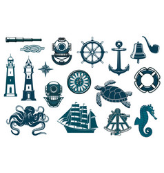 nautical seafaring sailing ship equipment icons vector image