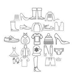 outgoing clothes icons set outline style vector image