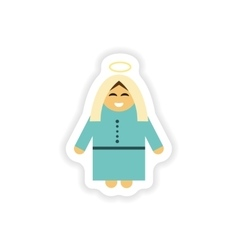 Paper sticker on white background Virgin Mary vector