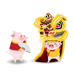 Pigs with lion dance vector