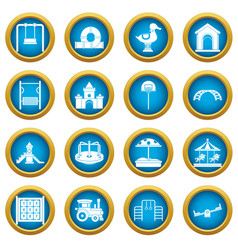 Playground icons blue circle set vector