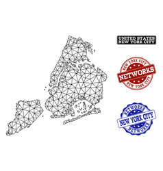 polygonal carcass mesh map of new york city vector image