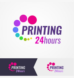 Printing salon colorful logo on different vector