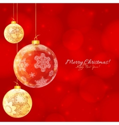 Red and white glossy Christmas balls vector image