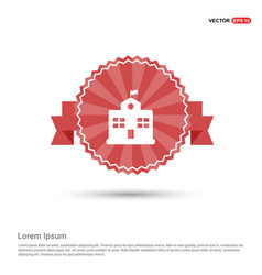 School building icon - red ribbon banner vector