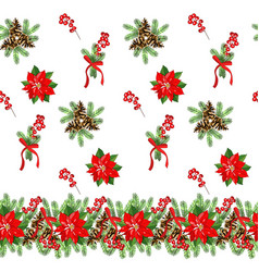 seamless pattern with cone fir branches vector image