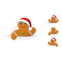 Set of Christmas gingerbread mans vector
