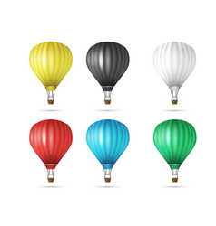 Set of realistic colorful hot air balloons flying vector