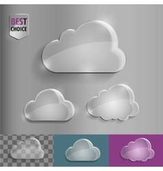 Set of shiny glass bubble cloud icons with soft vector image