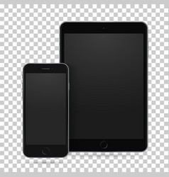 Set realistic tablet and mobile phone vector
