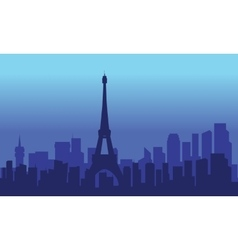 Silhouette of eiffel at night vector
