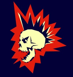 Skull punk design vector