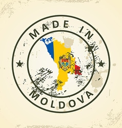 Stamp with map flag of Moldova vector image
