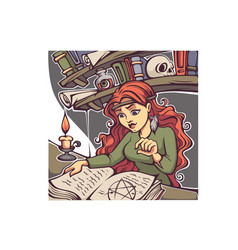 studding witch young lady reading a magic book vector image