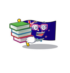 Student with book flag new zealand in cartoon vector