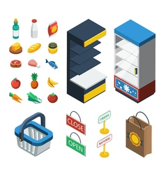 Supermarket Isometric Icon Set vector image