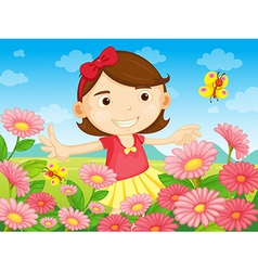The flowers and the pretty woman vector image