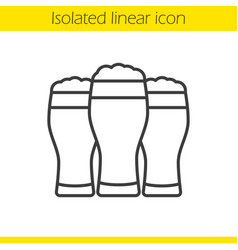 Three beer glasses linear icon vector