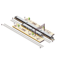 train railway isometric composition vector image