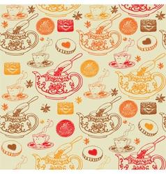 Vintage Tea Pots Pattern vector image