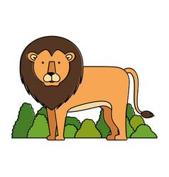 Wild lion with bush jungle vector