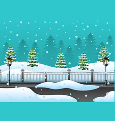 Winter forest landscape with fir tree and snow on vector