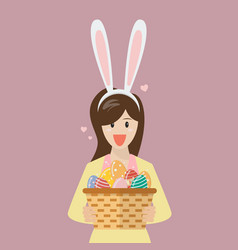 woman with bunny ears mask holding basket full of vector image