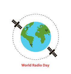 world radio dayearth globe vector image