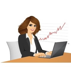 young pretty business woman with laptop vector image