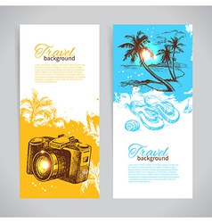 Banner set of travel colorful tropical banners vector image vector image