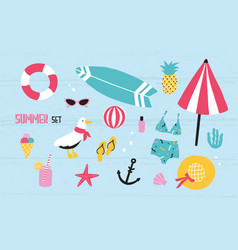 colorful summer set with hand drawn elements vector image