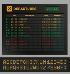 digital colorful airport board template vector image