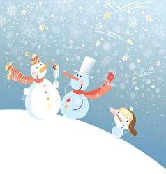 Funny snowmen vector