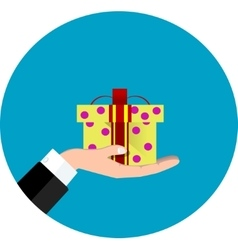 hand giving present vector image vector image